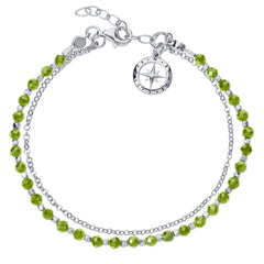 Friendship Bracelet in Silver with Peridot