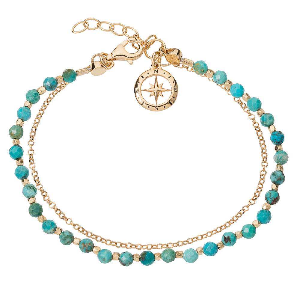 Love's Compass Gold & Turquoise Friendship Bracelet