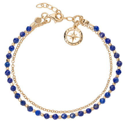 Love's Compass Gold & Lapis Friendship Bracelet