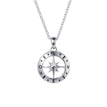Silver Compass December Birthstone Blue Topaz Necklace