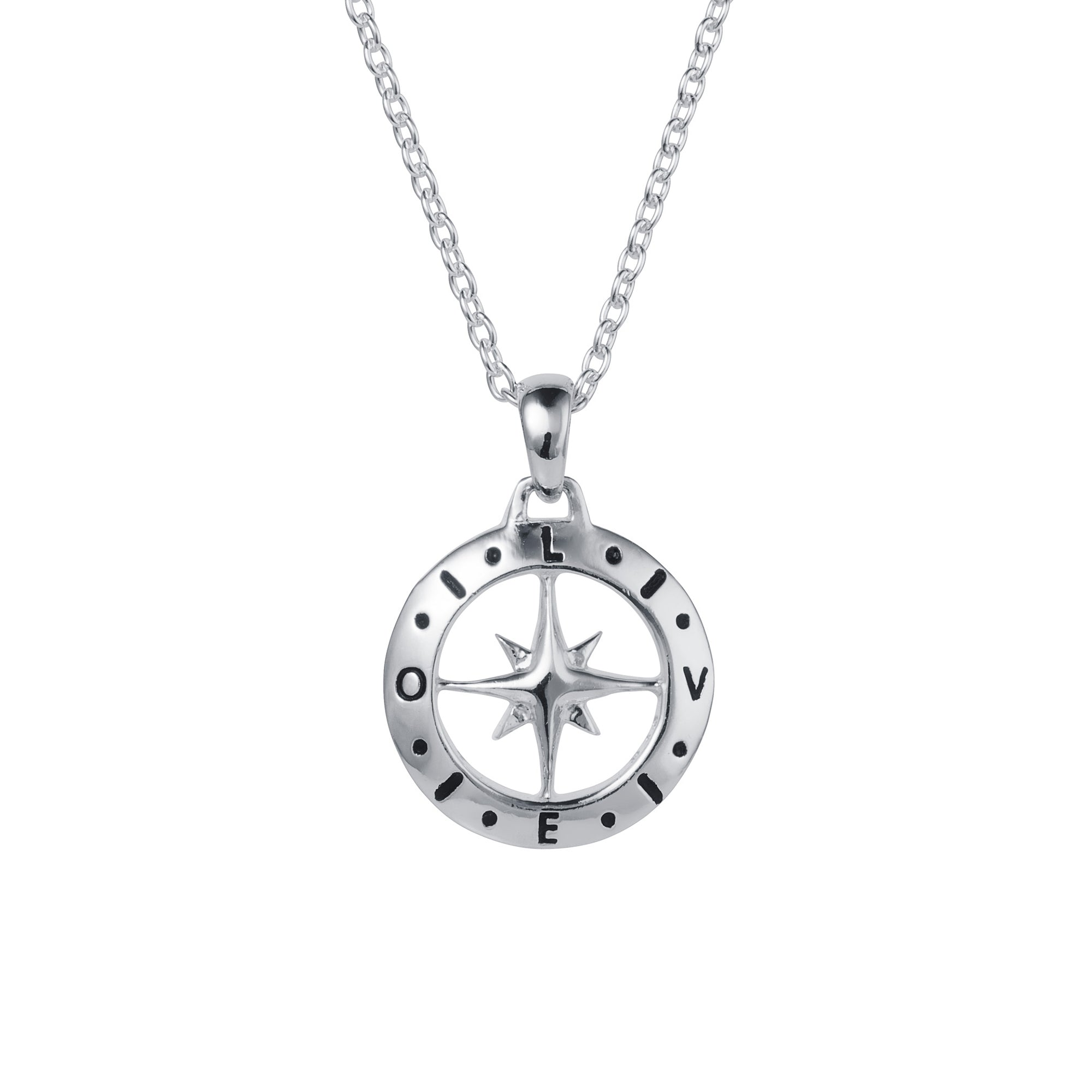 Silver Compass February Birthstone Amethyst Necklace
