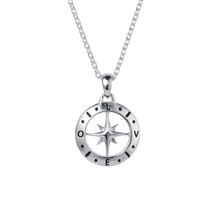 Silver Compass April Birthstone White Topaz Necklace