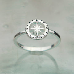 Love's Compass Silver Ring