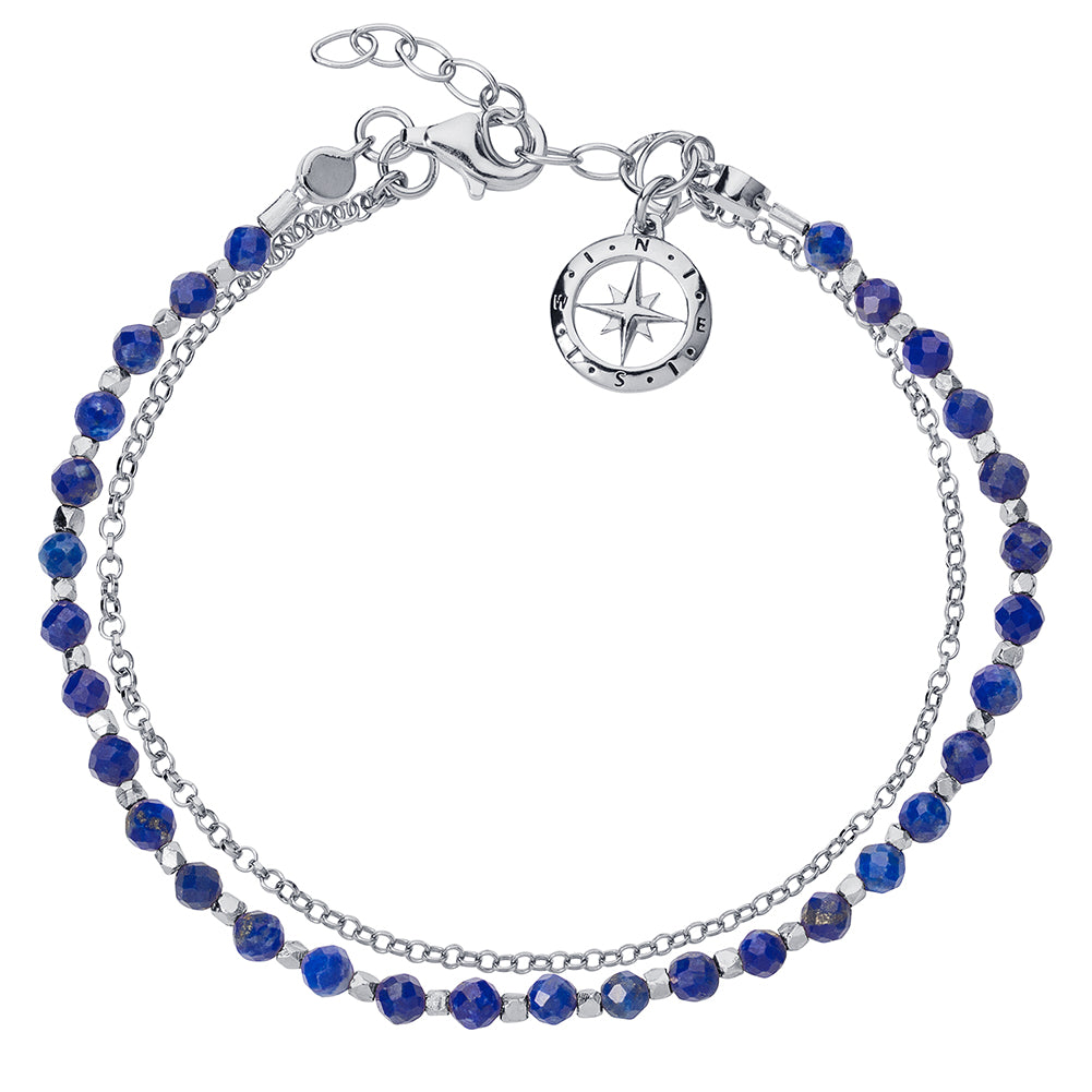 Silver and Lapis Love's Compass Friendship Bracelet