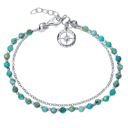 Love's Compass Silver & Turquoise Friendship Bracelet