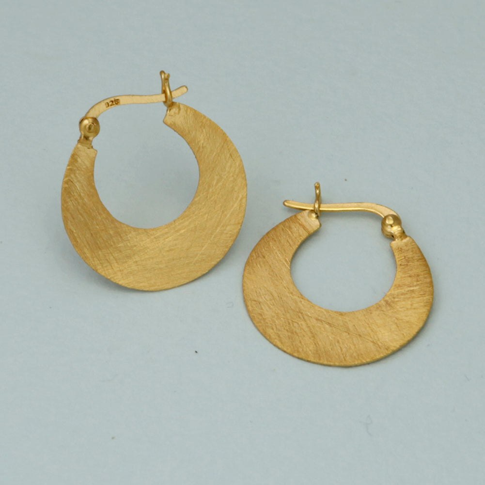Small Crescent Hoop Gold Earrings