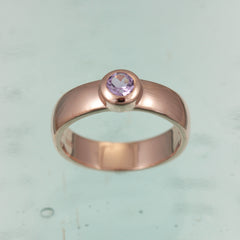 Rose Gold Vermiel Ring With Amethyst Stone.