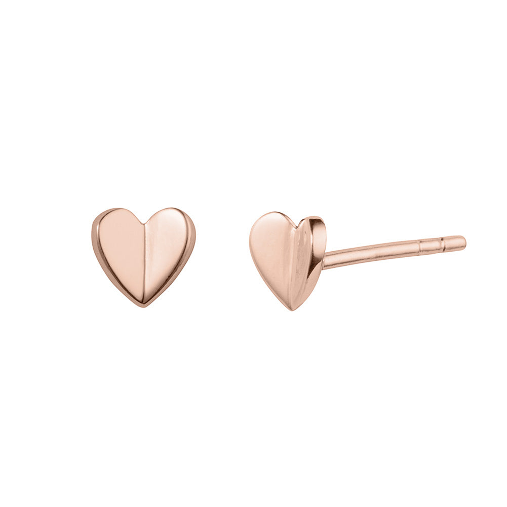 Rose Gold Folded Heart Stud Earrings