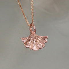 Rose Gold Ginkgo Pendant