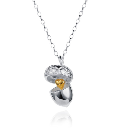 Silver Acorn Necklace with Gold Heart