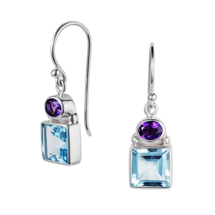 Blue Topaz & Amethyst Silver Lilac Drop Earrings