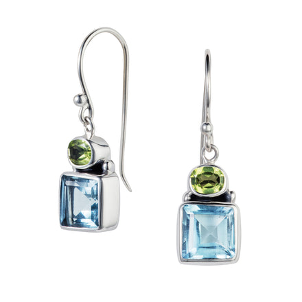 Blue Topaz & Peridot Silver Forget-Me-Not Earrings