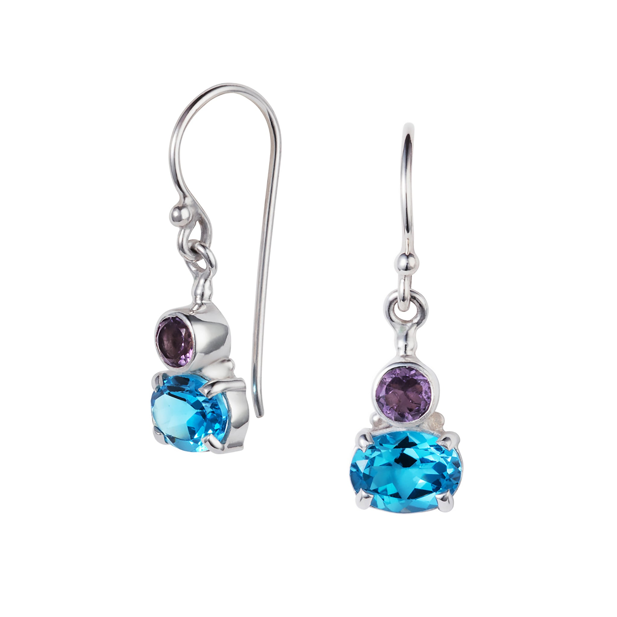 Blue Topaz and Amethyst Silver Small Violet Earrings