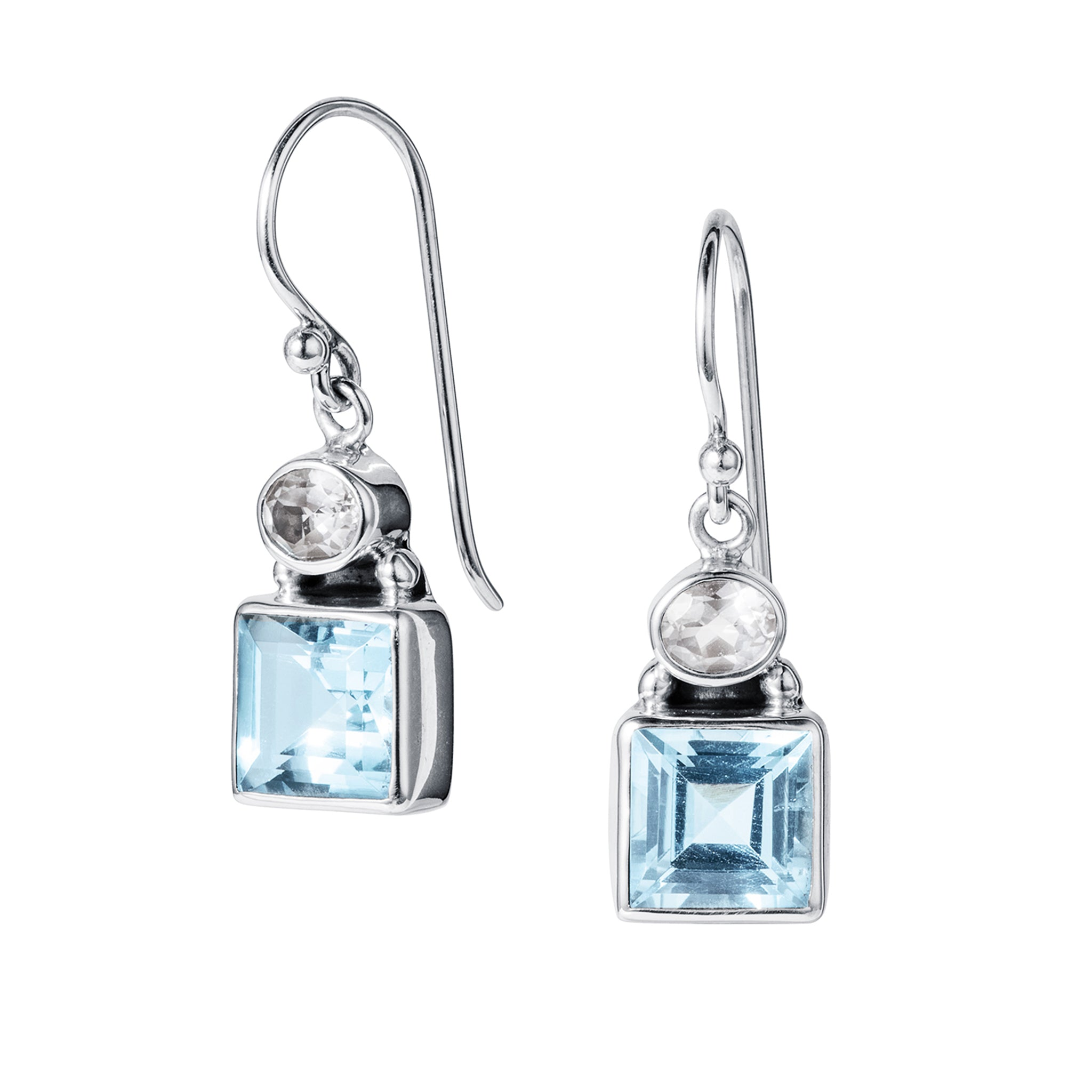 Blue and White Topaz Silver Celestial Earrings