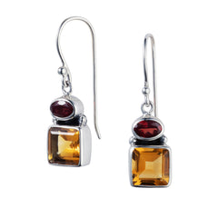 Citrine & Garnet Silver Snapdragon Earrings