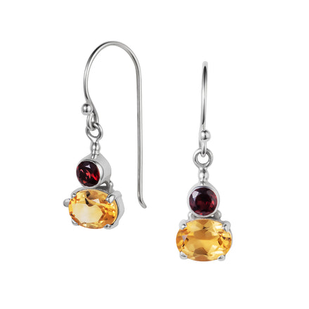 Citrine & Garnet Silver Small Snapdragon Earrings