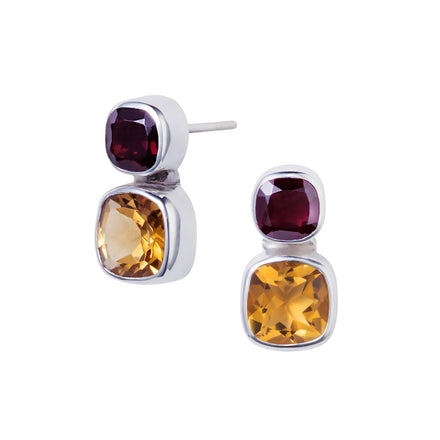Citrine & Garnet Silver Snapdragon Stud Earrings