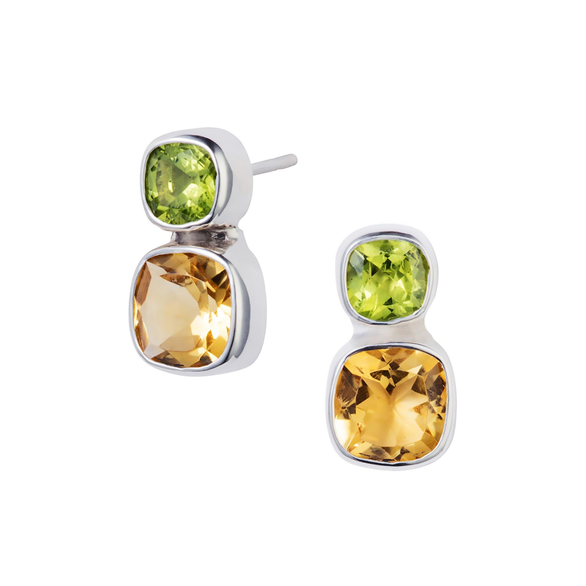 Citrine & Peridot Silver Dandelion Stud Earrings