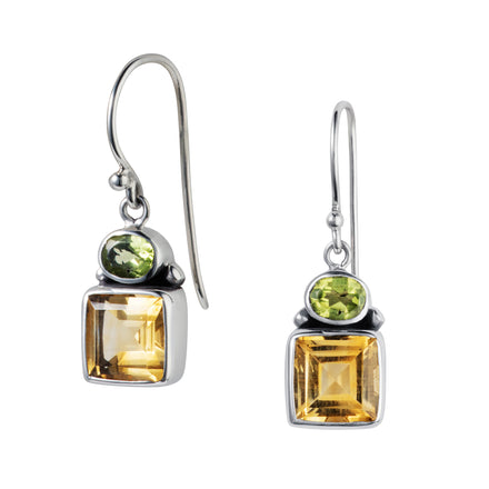Citrine & Peridot Silver Dandelion Earrings