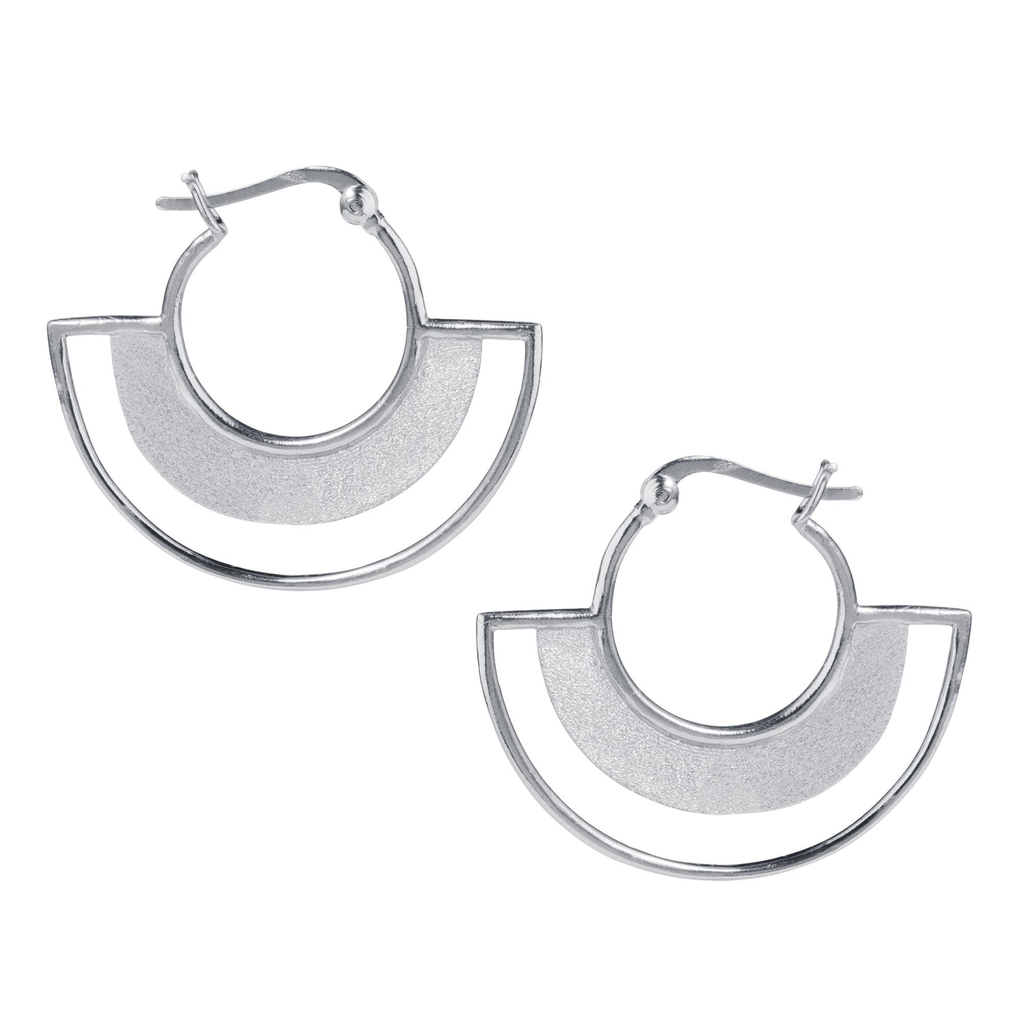 Art Deco Silver Half Hoop Earrings