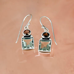 Silver Dusk Earrings With Green Amethyst and Smoky Quartz