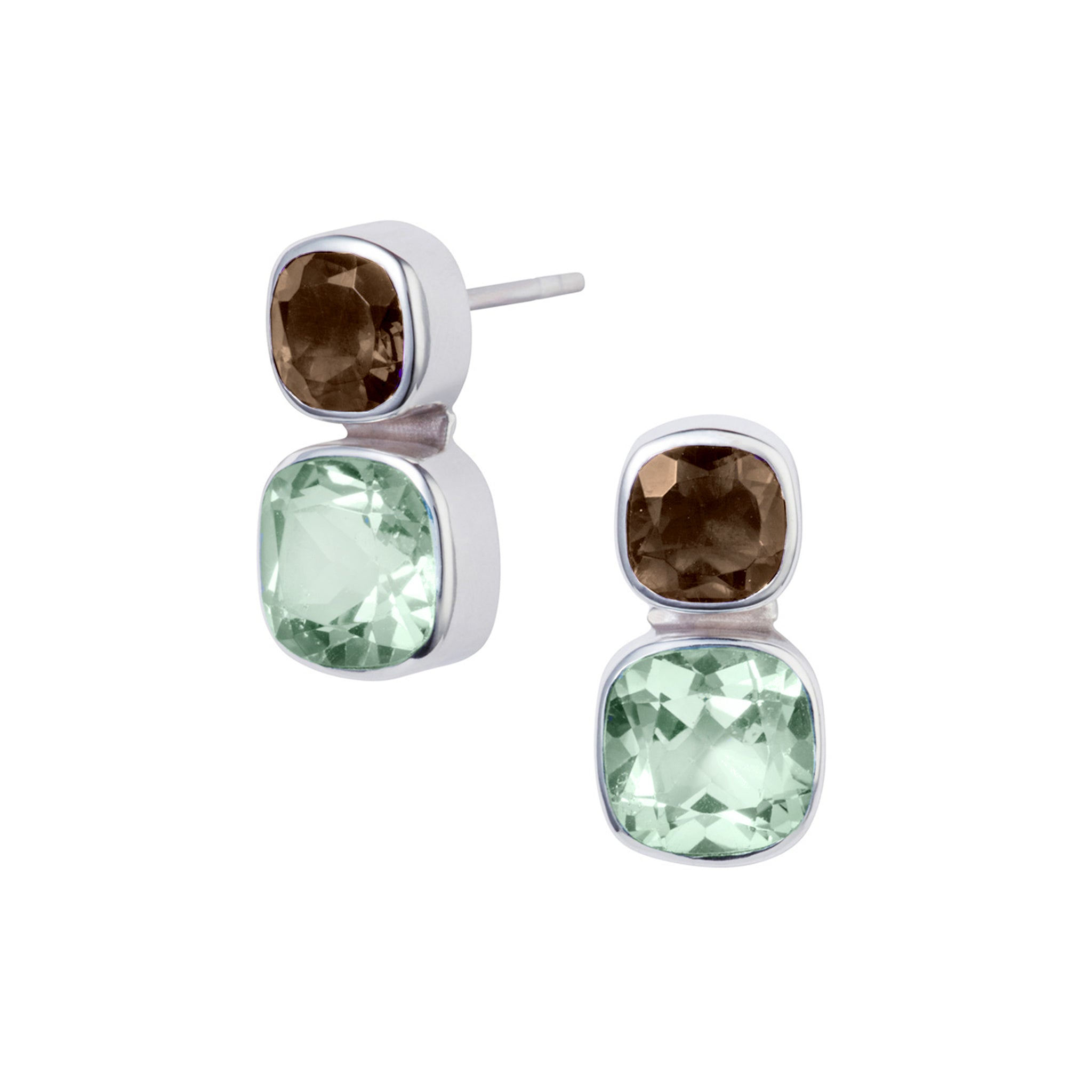 Image of Silver Green Amethyst Smoky Quartz Stud Earring