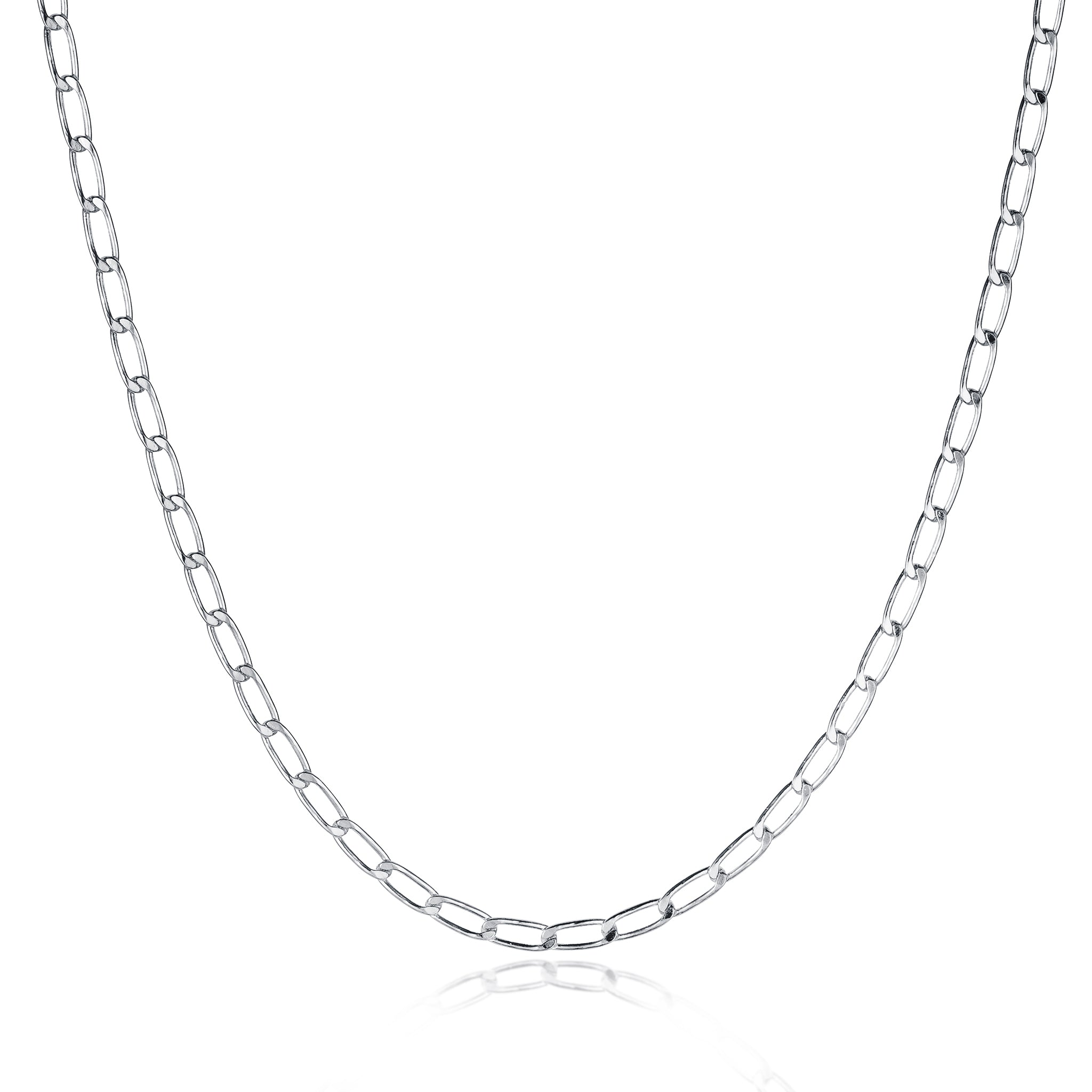 Silver Hammered Long Curb Chain Necklace