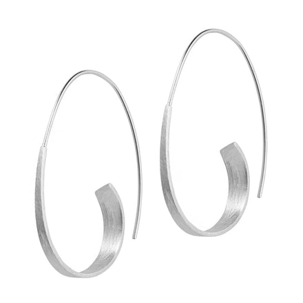 Silver Long Curl Hoop Earrings