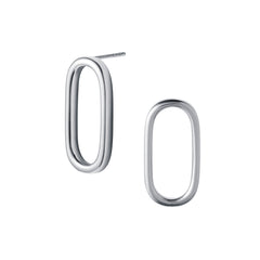 Silver Oval Hoop Stud Earrings