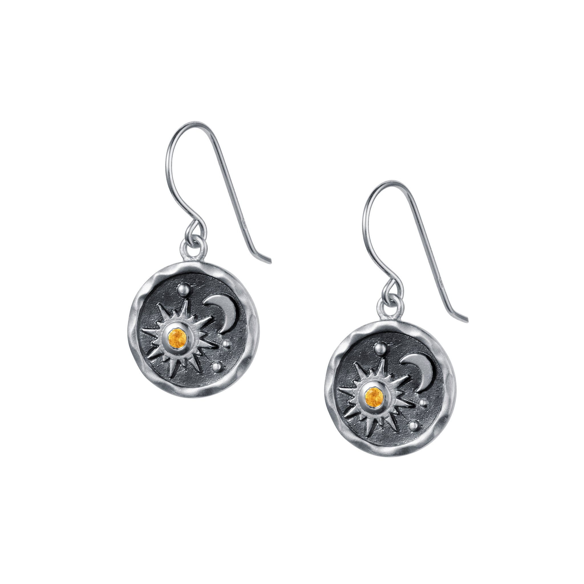 Heaven-Sent Sun & Moon Hook Earrings in Matte Silver