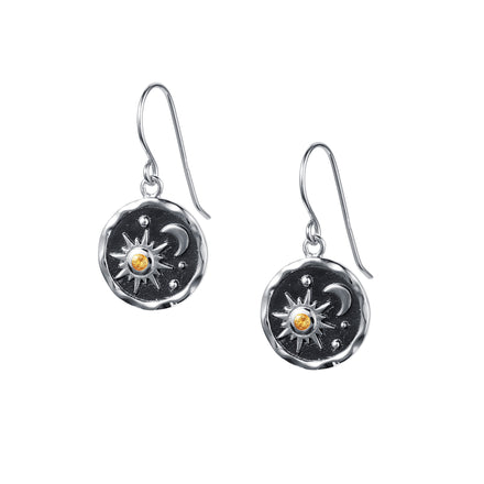 Heaven-Sent Sun & Moon Hook Earrings in Polished Silver