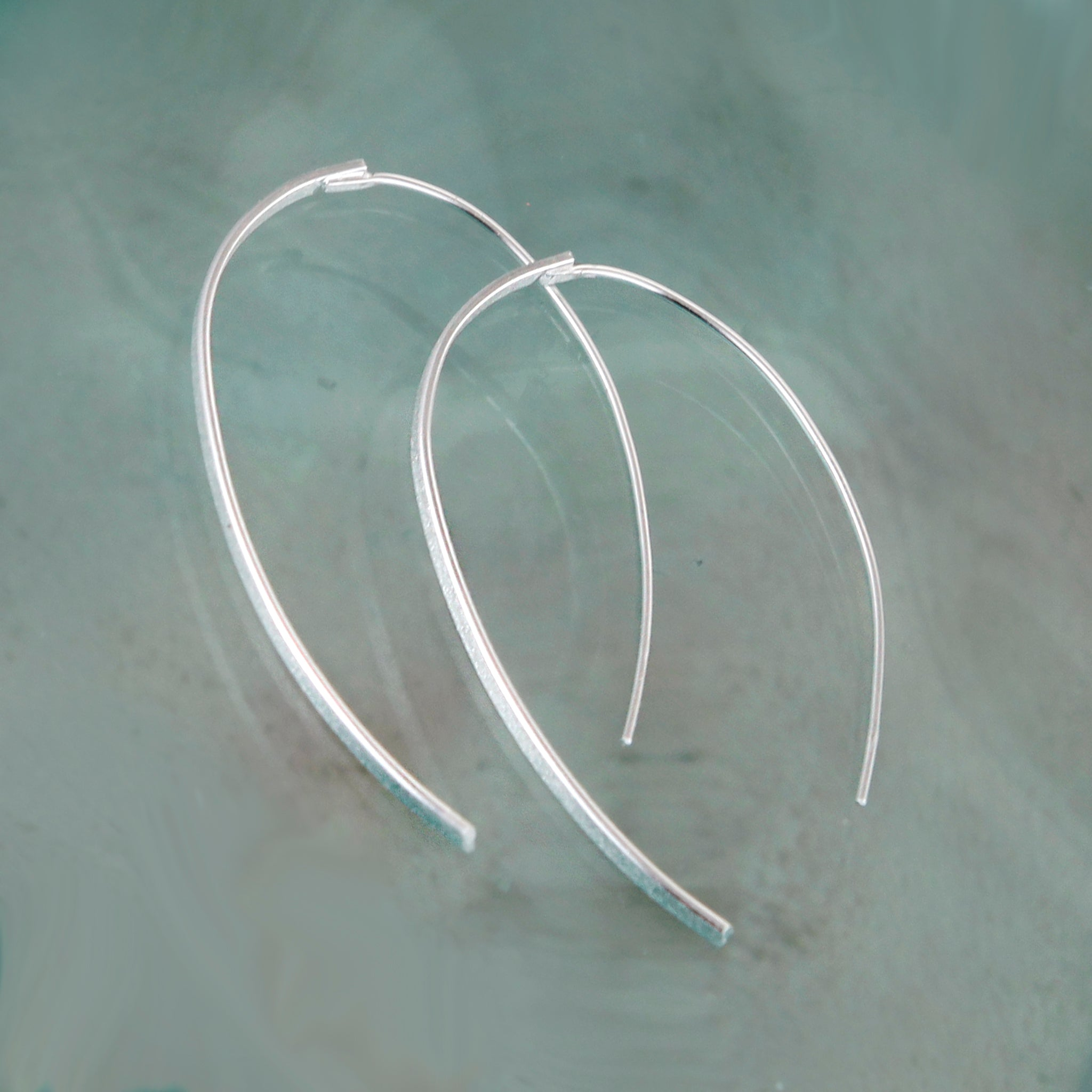 Silver Threader Wishbone Earrings