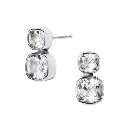 Silver and White Topaz Silver Stud Earrings.