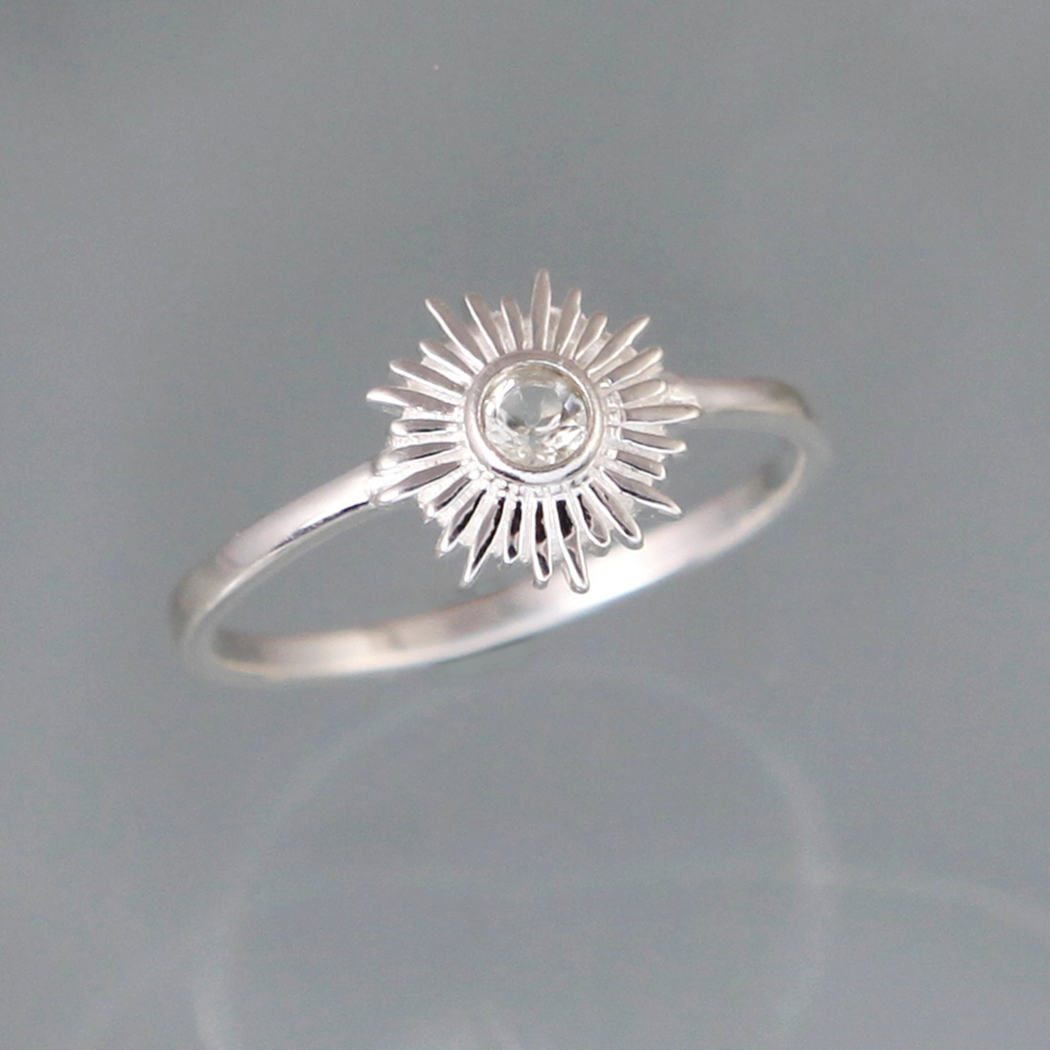 Silver and White Topaz Sun Ring