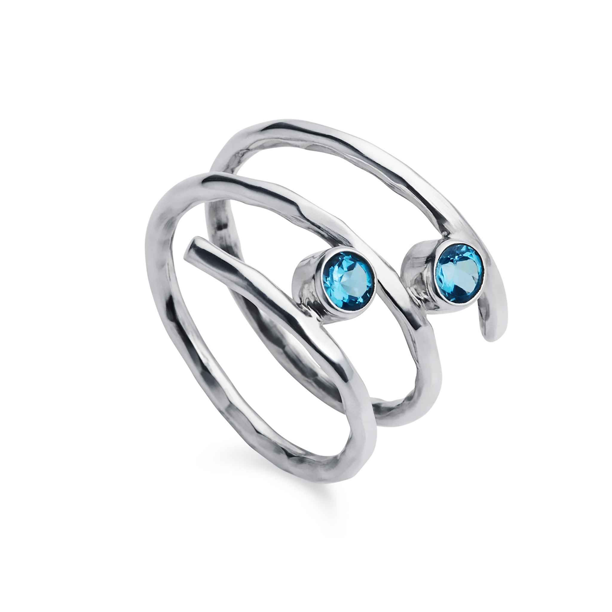 Fine Twist Blue Topaz Silver Ring
