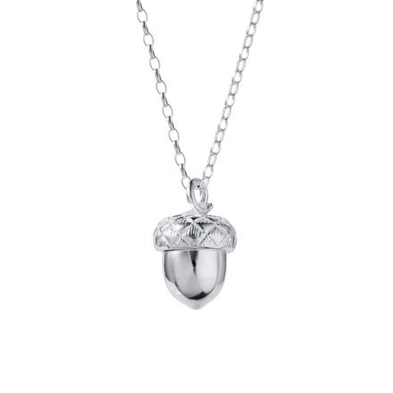 In A Nutshell Silver Acorn Locket w Ruby