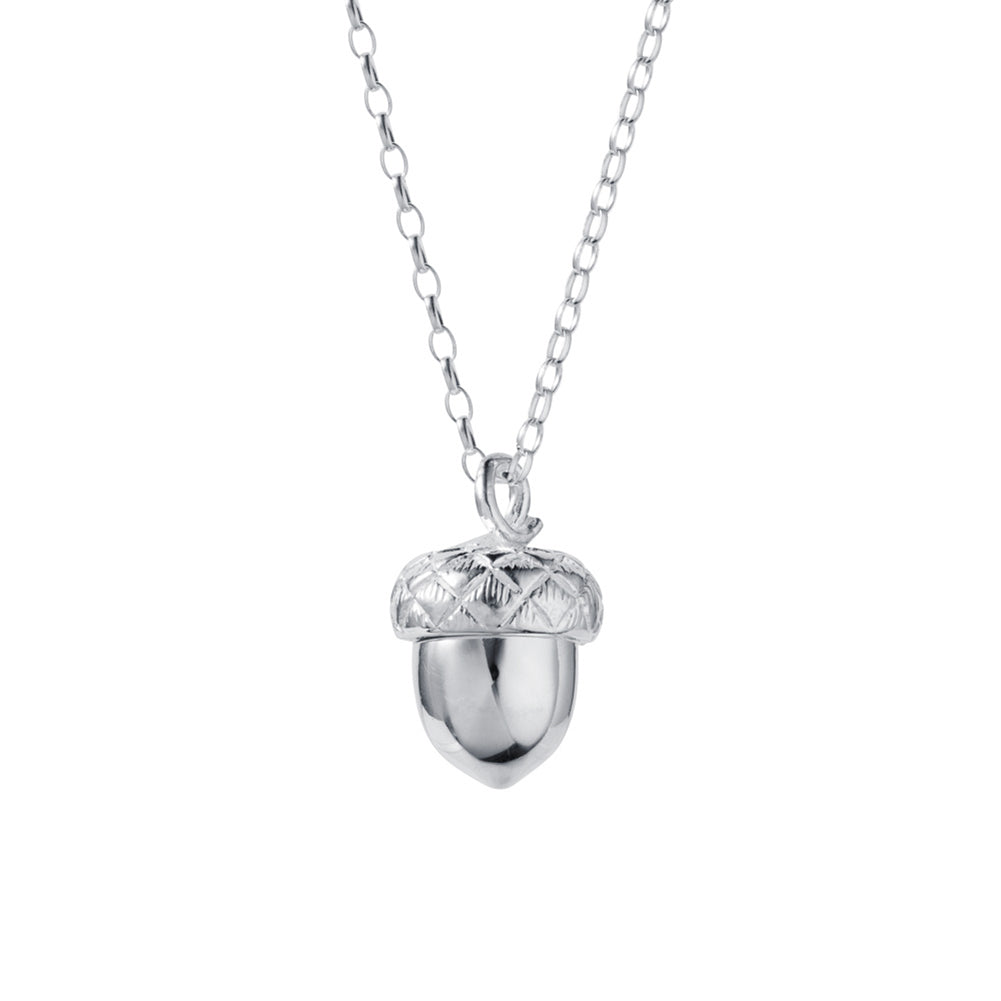 In A Nutshell Silver Acorn Locket w Tanzanite