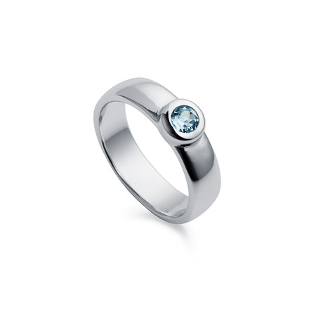 Solitaire Blue Topaz Silver Ring