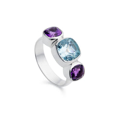 Lilac Blue Topaz and Amethyst Silver Ring
