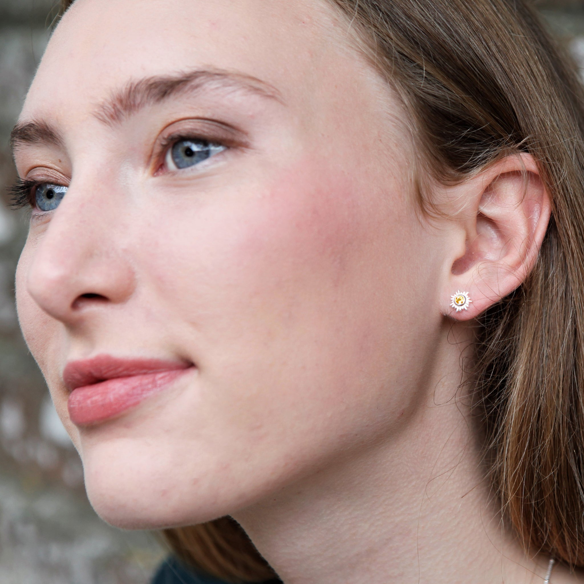 Silver and Citrine Sun Stud Earrings