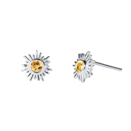 Silver and Citrine Stud Earrings