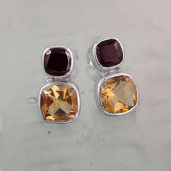 Citrine & Garnet Silver Stud Earrings