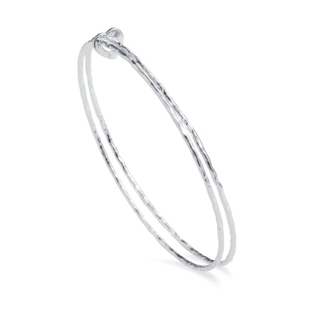 Double silver bangle bracelet with heart