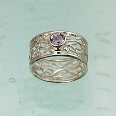 Candy Floss Amethyst Silver Ring