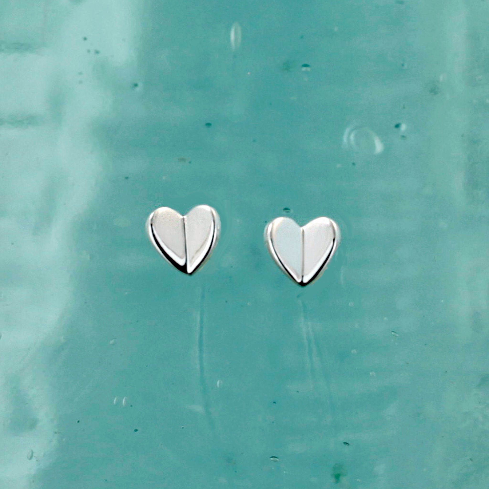 Flutter Heart Silver Stud Earrings