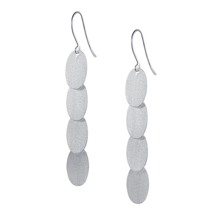 Long Silver Dangle Earrings