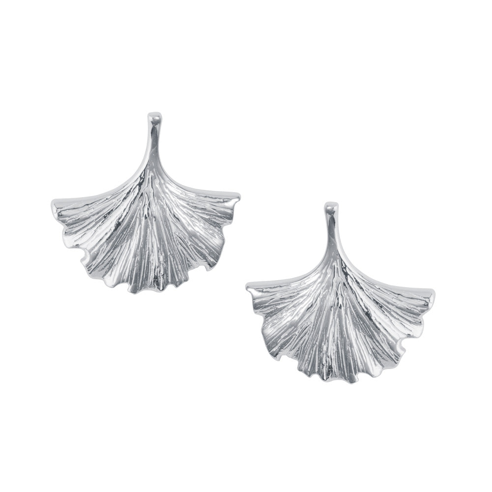 Gingko Leaf Silver Stud Earrings
