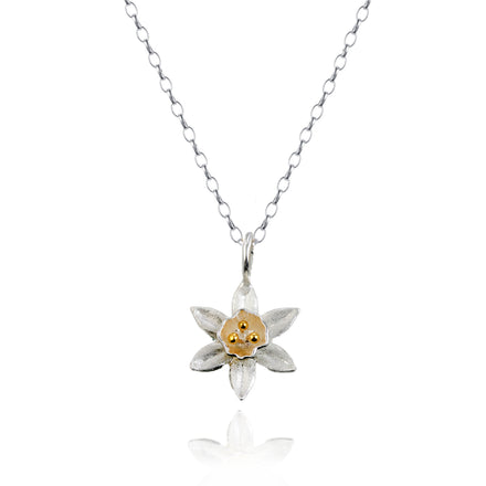 Silver & Gold Daffodil Flower Pendant