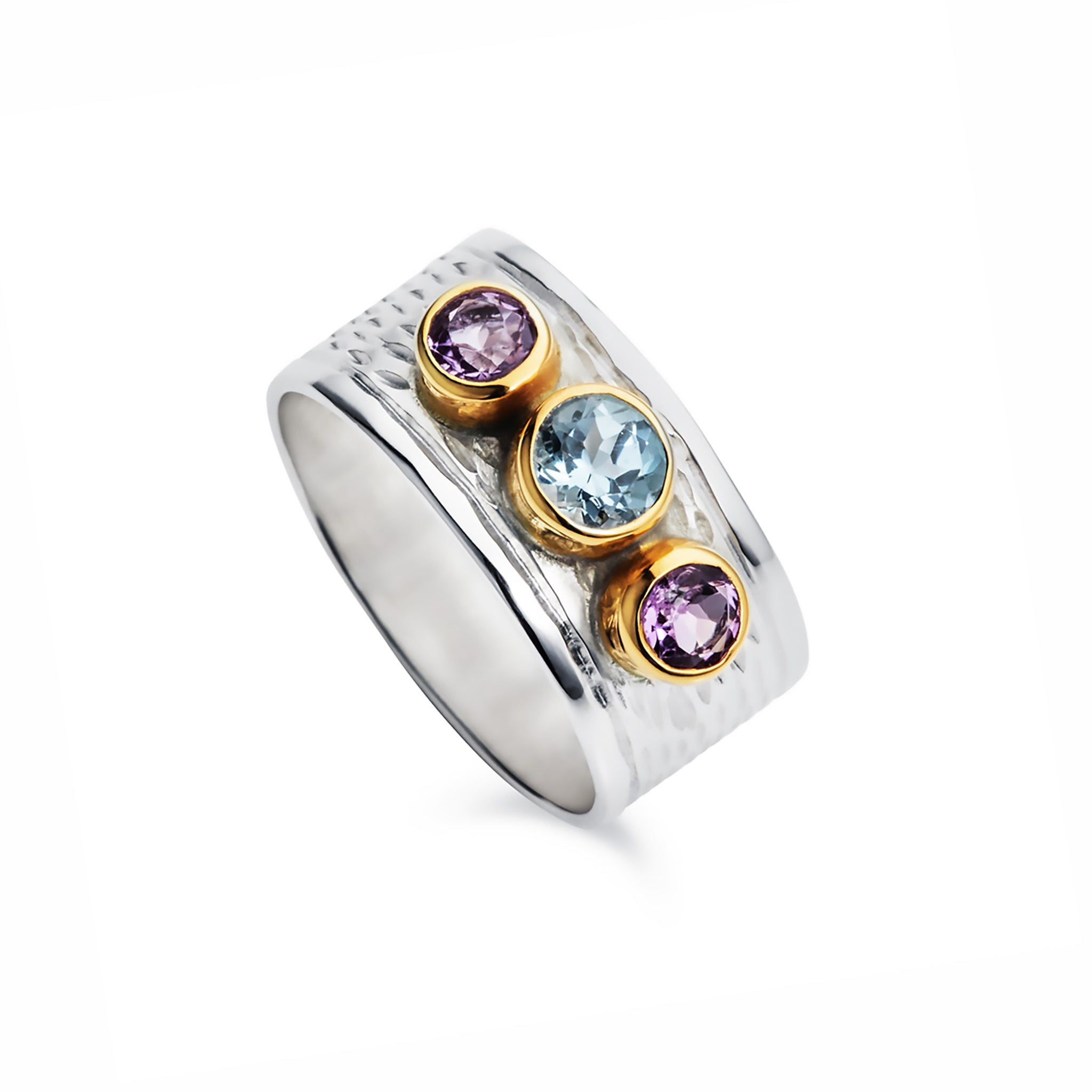 Silver Milan Ring With Blue Topaz and Amethyst