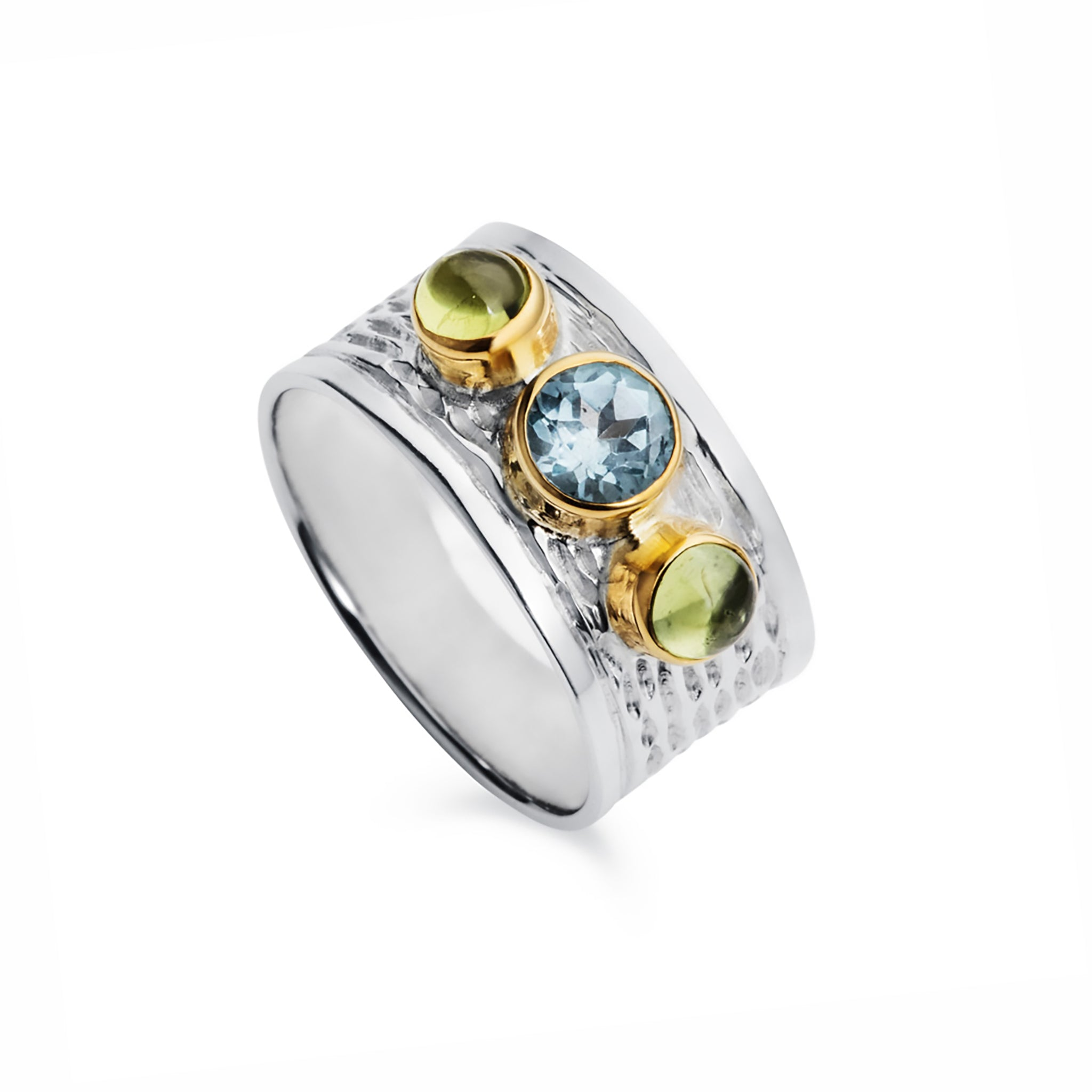 Silver Milan Ring With Blue Topaz and Peridot Gemstones
